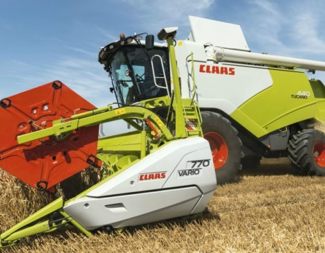 CLAAS TUCANO 570-320 Combine harvesters. Your benefits. CMOTION, multi-function lever, CEBIS, TELEMATICS, yield mapping and GPS PILOT ensure an innovative guidance and control comfort. Higher production up to 20% thanks to the APS. APS and APS HYBRID. A unique threshing technology in its class. The grain tank with up to 9,000 liters of capacity lengthens the working time. The high emptying speed reduces the discharge intervals. Both factors contribute to improving the operating result. New VARIO 930 - 500 cutter bars with 700 mm of adjustment range thanks to integrated rapeseed plates. Mercedes-Benz OM 936 offers reliable power reserves even in the most difficult harvesting conditions. New 4- wheel drive axle with 30% more traction. Darin Srl Claas TUCANO 570-320 combine harvester Dealer